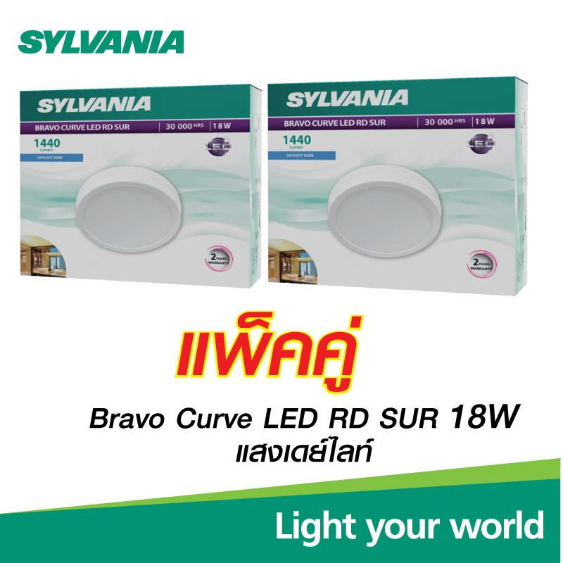 (แพ็คคู่)SYLVANIA โคมไฟดาวน์ไลท์ติดลอย BRAVO CURVE LED RD 18 วัตต์ (หน้ากลม) แสงเดย์ไลท์