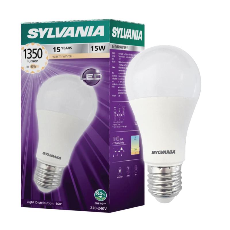 SYLVANIA หลอดไฟ LED 15W 3000K A65 V3 ขั้ว E27 แสงวอร์มไวท์