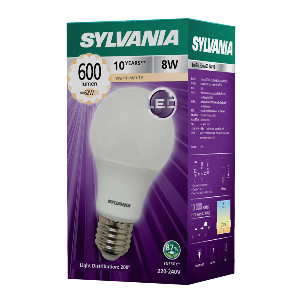 SYLVANIA หลอดไฟ LED Eco Toledo A60 8W แสง Warmwhite