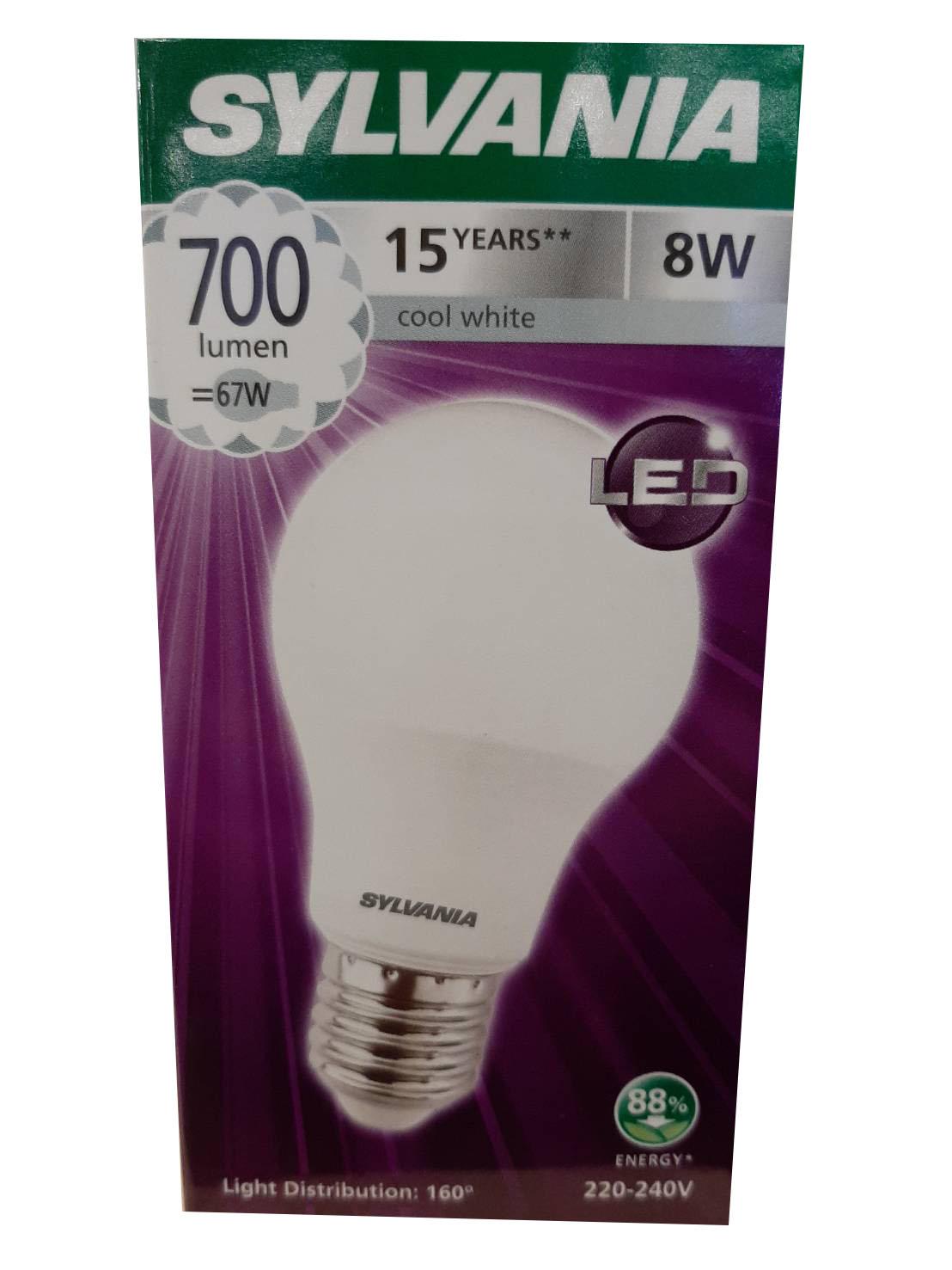 SYLVANIA หลอดไฟ LED ToLEDo A60 8W E27 4000K V3 แสง Coolwhite