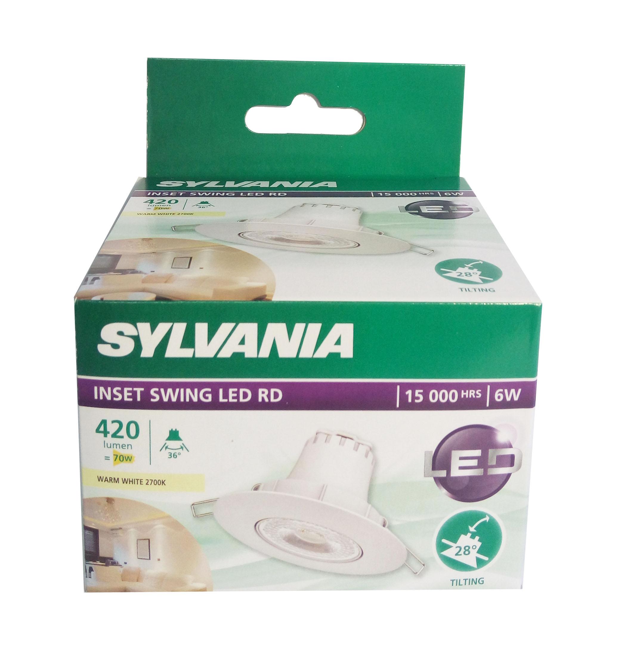 SYLVANIA โคม Inset Swing LED RD_6W  แสง 2700K(วอร์มไวท์) หน้ากลม