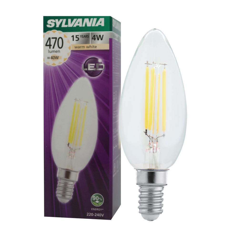 SYLVANIA หลอดไฟวินเทจ Filament ฟิลาเมนต์ ทรงเอดิสัน รุ่น ToLEDo FIRA Candle 4W E14 แสงวอร์มไวท์
