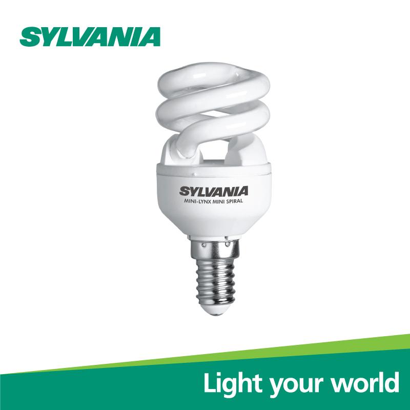 SYLVANIA หลอดประหยัดไฟ MINILYNX MINI SPIRAL 7W/827 E14 L แสงวอร์มไวท์