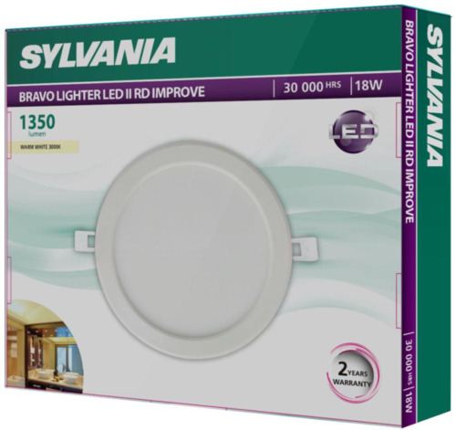 SYLVANIA โคมดาวน์ไลท์ รุ่น BRAVO LIGHTER LED II RD 18W WW IMPROVE (แสงวอร์มไวท์)