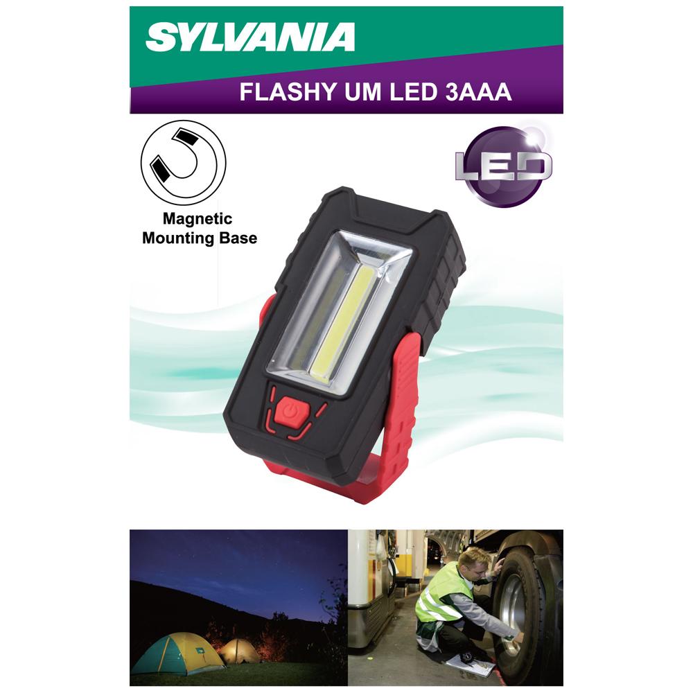 SYLVANIA -Flashy um LED 3AAA - แดง/ดำ ไฟฉายแม่เหล็กพกพา