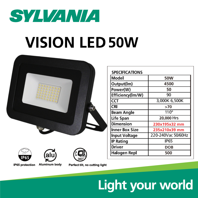 Sylvania LED Floodlight โคมฟลัดไลท์แอลอีดี โคมสปอร์ตไลท์  VISION LED 50W วอร์มไวท์